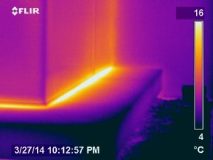 infrared building envelope survey showing air exfiltration by Jersey Infrared Consultants