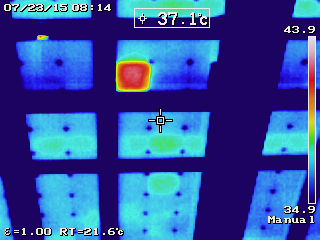 Jersey Infrared Consultants infrared images of failed solar panel from Infrared Photovoltaic Surveys, .