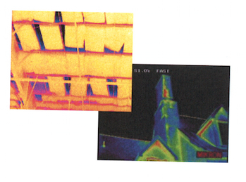 thermograms of IR Building Envelope Survey - interior and exterior
